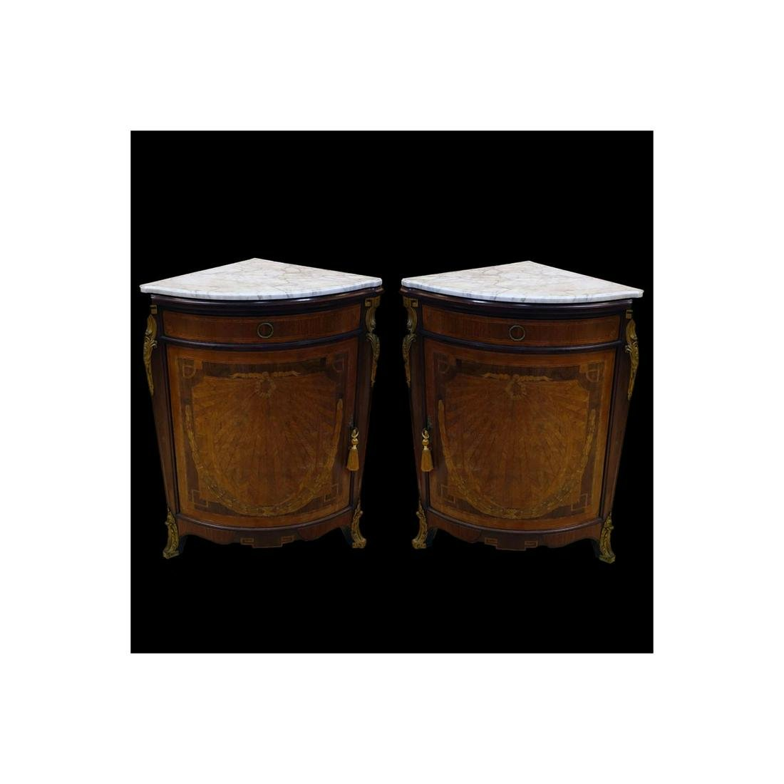 Pair of Antique French Corner Cabinets