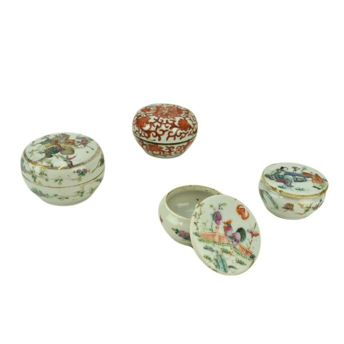 Four (4) Antique Chinese Miniature Covered Boxes