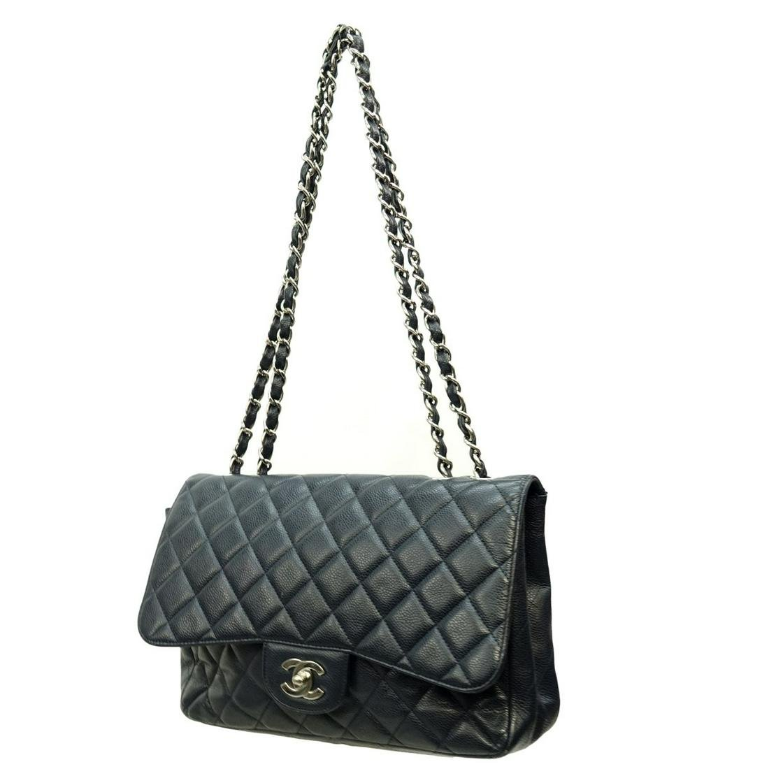 Chanel Jumbo Navy Blue Quilted Purse