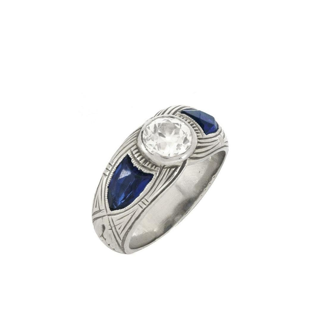 Diamond, Sapphire 14K Ring