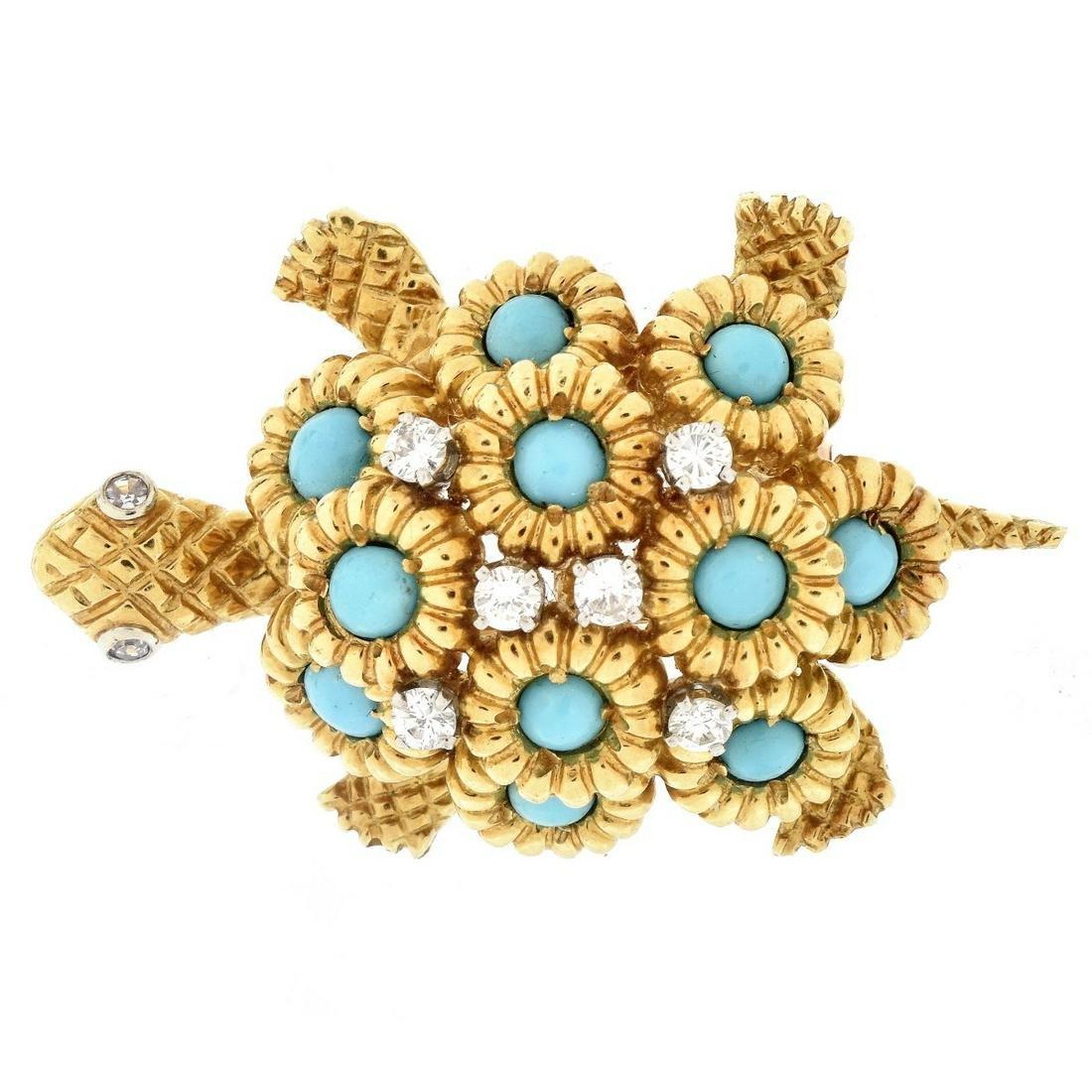 Vintage 18K Gold Turtle Brooch