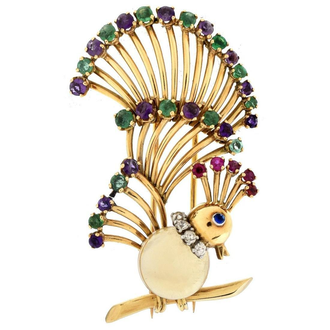 Vintage French 18K Gold Bird Brooch