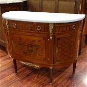 French Louis XVI Style Demilune Commode