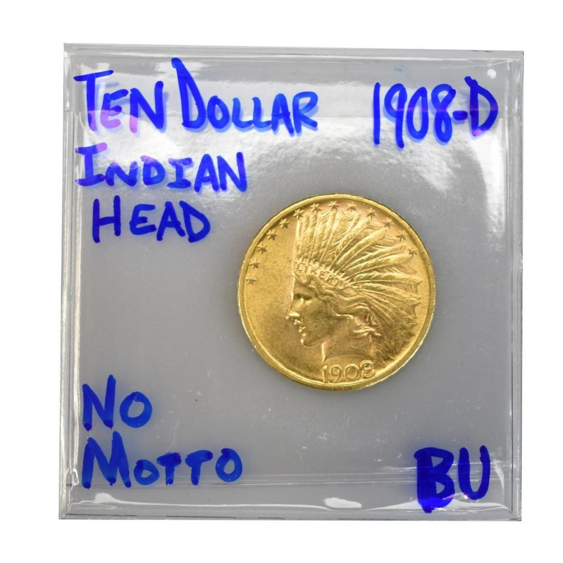 1908 US Indian Head Ten Dollar