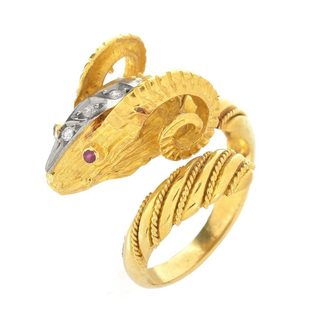 Diamond, Ruby 18K and Platinum Ring