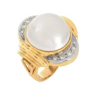Pearl Diamond and 14K Ring