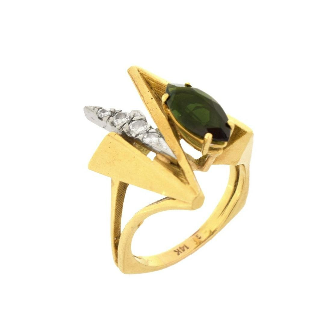 Retro Diamond, Tourmaline and 14K Ring