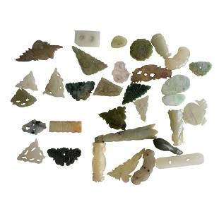 30 Antique Miniature White Jade Carved Pieces