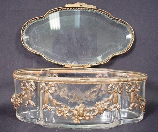 1: Empire Bronze & Crystal Lidded Vanity Box. Unsigned.