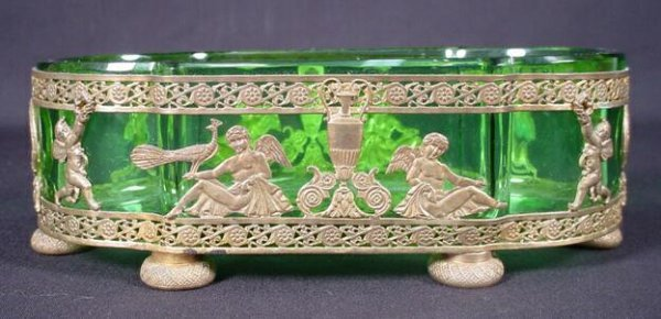 3: French Empire Bronze Mounted Vanity Tray with Green