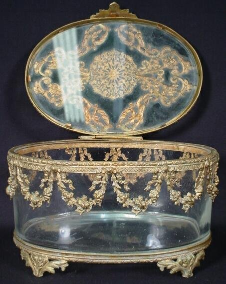 4: French Empire Bronze & Crystal Footed Vanity Box. Un