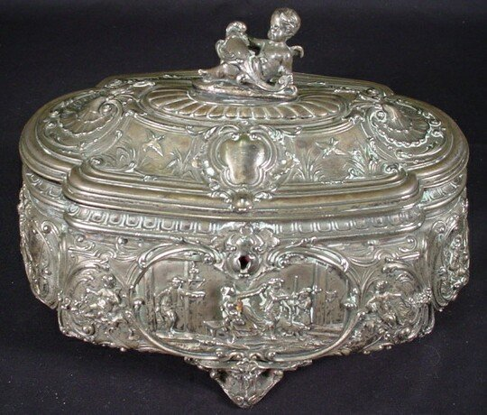 8: Very Ornate French Silver Plate Jewelry Casket with