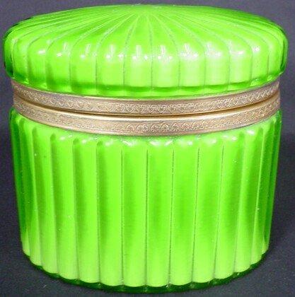 9: 19/20C Bronze Cased Green Glass Vanity Box. Unsigned