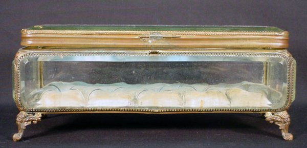 10: French Crystal & Bronze Footed Jewelry Casket with