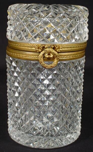 11: Bronze & Cut Crystal Lidded Vanity Jar/Box. Unsigne