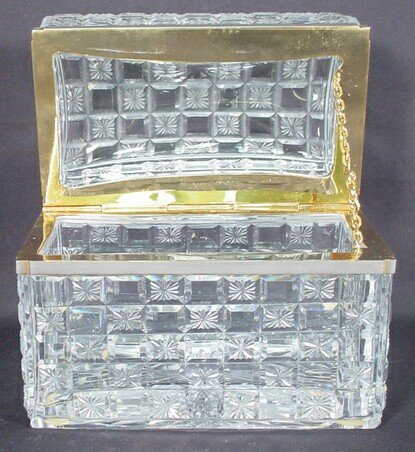 12: Heavy Baccarat Bronze & Cut Crystal Lidded Vanity B