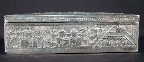 14: 19C Hand Hammered Persian Silver Lidded Box. Signed