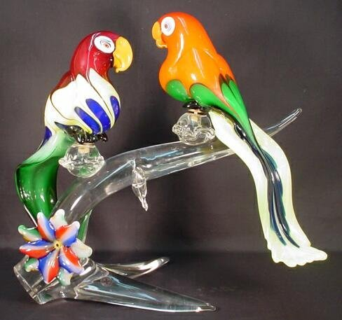 18: Oversize Pair of Signed Murano Art Glass Parrots Mo