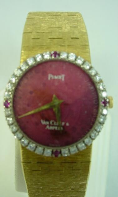60: Van Cleef Arpels 18K Gold Ruby & Diamond Piaget Lad