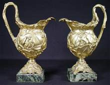 313 Pair of 19C Art Nouveau French Gilt Bronze Urns wi