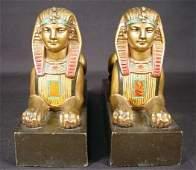 314 19C Fr Polychromed Spelter Egyptian Revival Booken