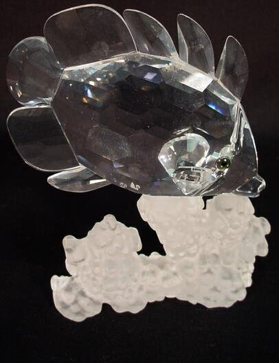 501: Swarovski Crystal Fish and Coral Figure. Signed wi