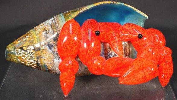 521: Modern Art Glass Crab Crawling out of a Shell. Uns