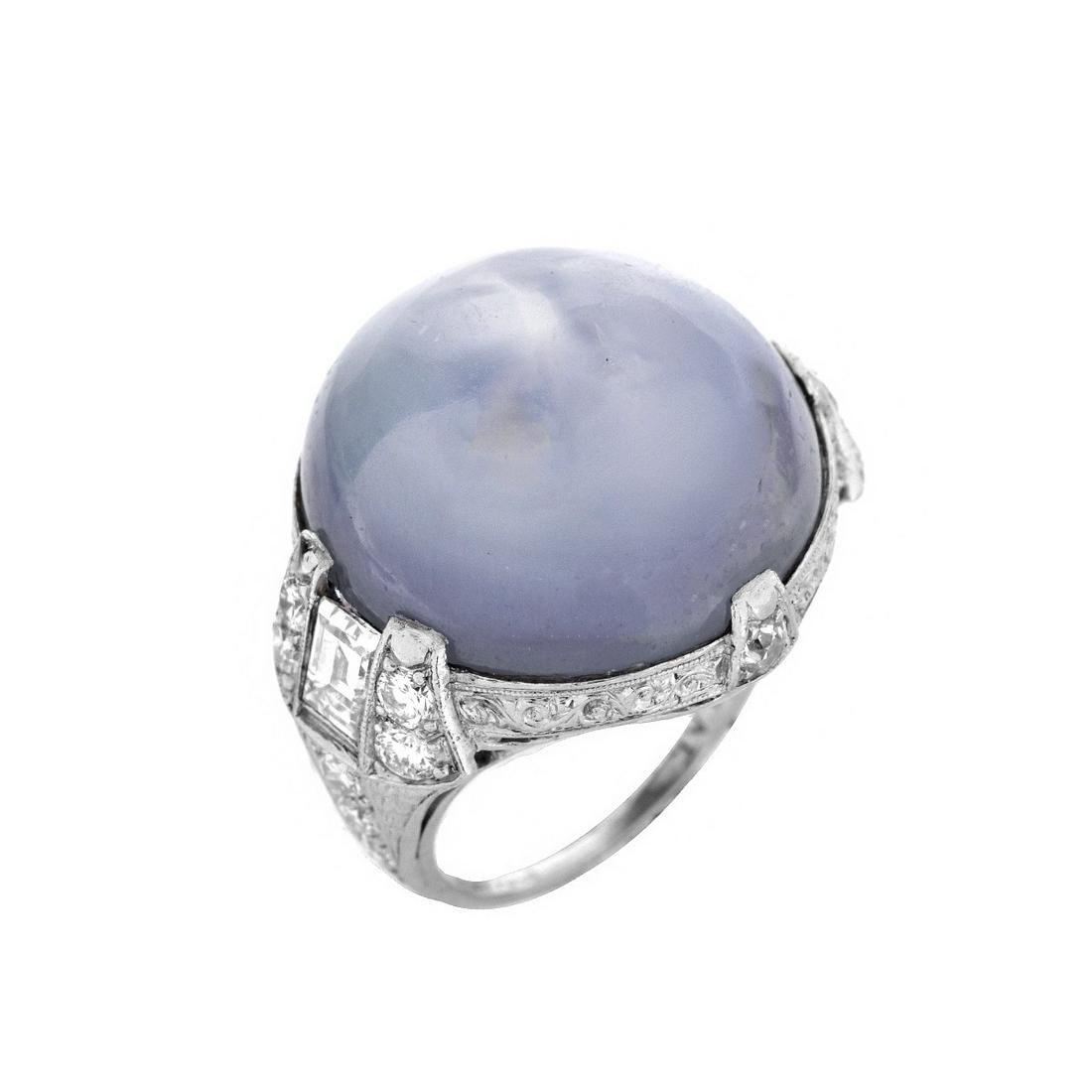 GIA Star Sapphire, Diamond and Platinum Ring