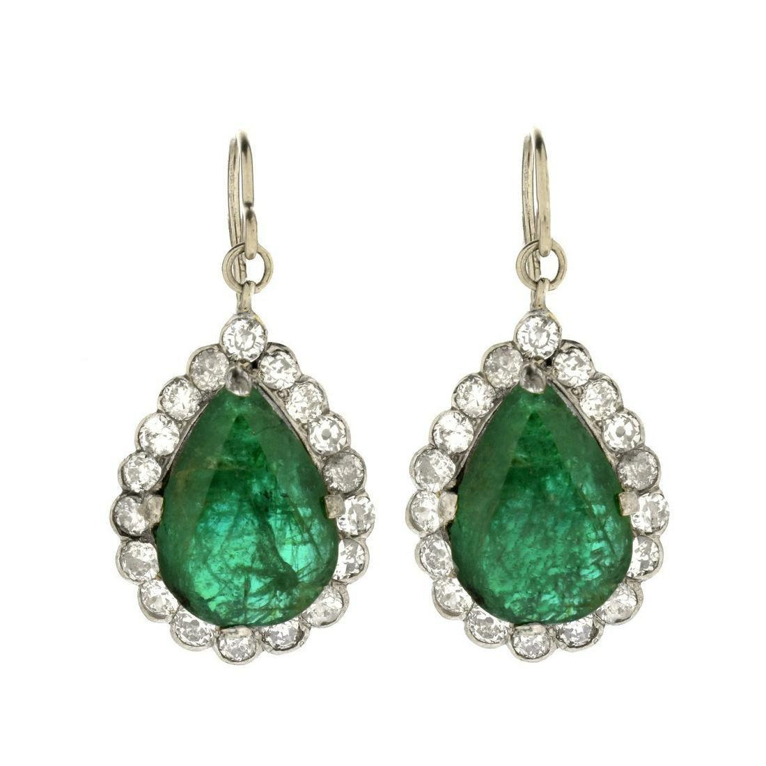 GIA Emerald and Diamond Earrings