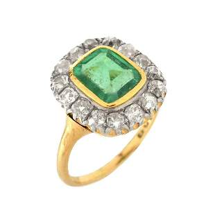 GIA Emerald, Diamond and 18K Ring