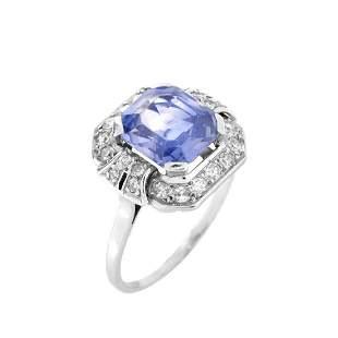GIA Sapphire, Diamond and 14K Ring