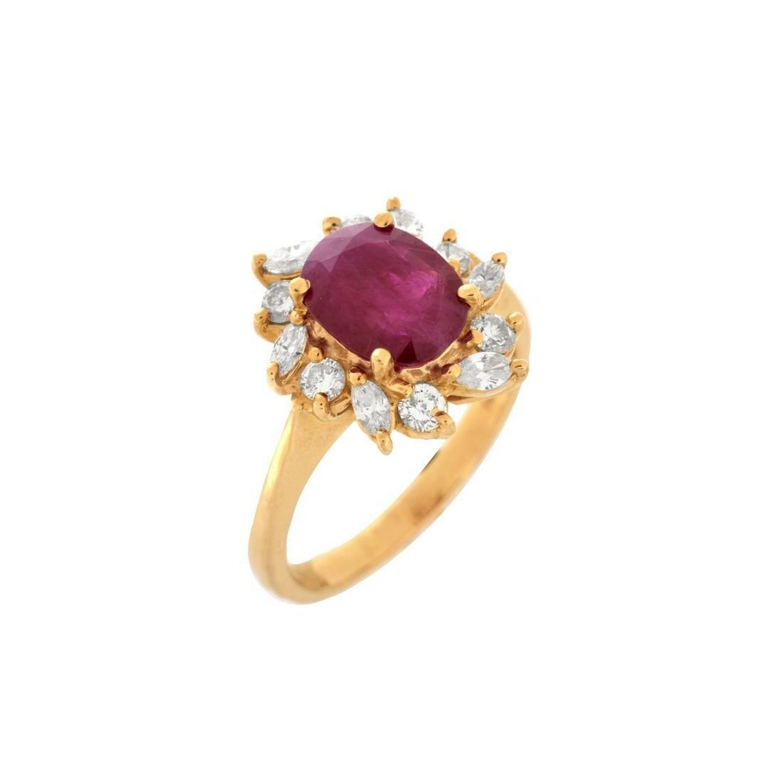 GIA Burma Ruby, Diamond and 14K Ring