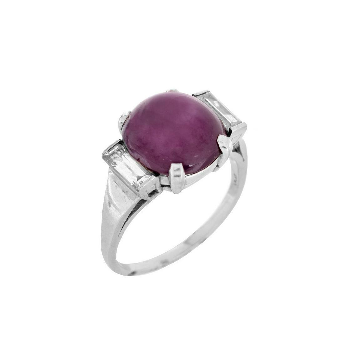 GIA Burma Ruby, Diamond and Platinum Ring