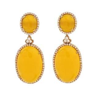 Diamond, Agate and 18K Earrings