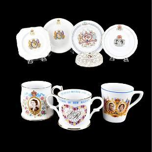 7 Assort Porcelain English Royalty Memorabilia