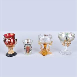 Four Antique Masonic Glassware