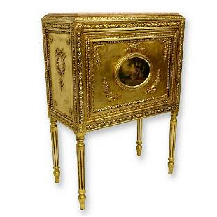 Hand Carved Gold Painted Cabinet