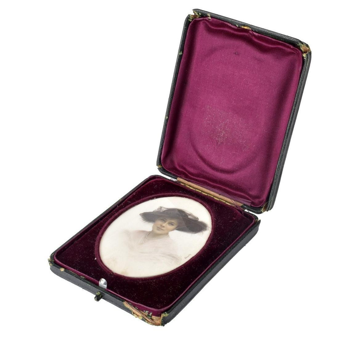 19th C. Miniature Ivory Portrait