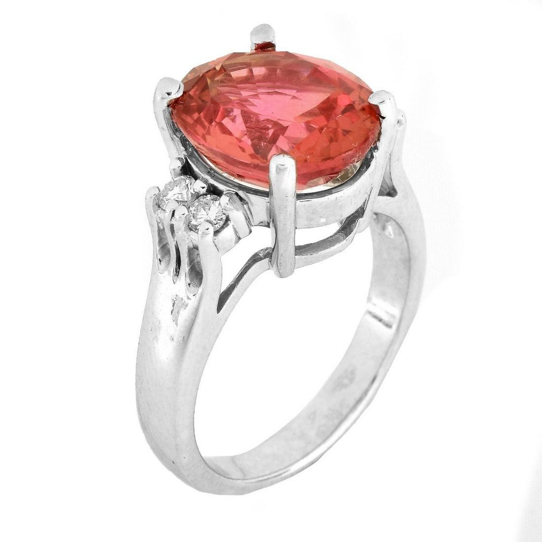 6.60ct. Orange Sapphire and 14K Gold Ring