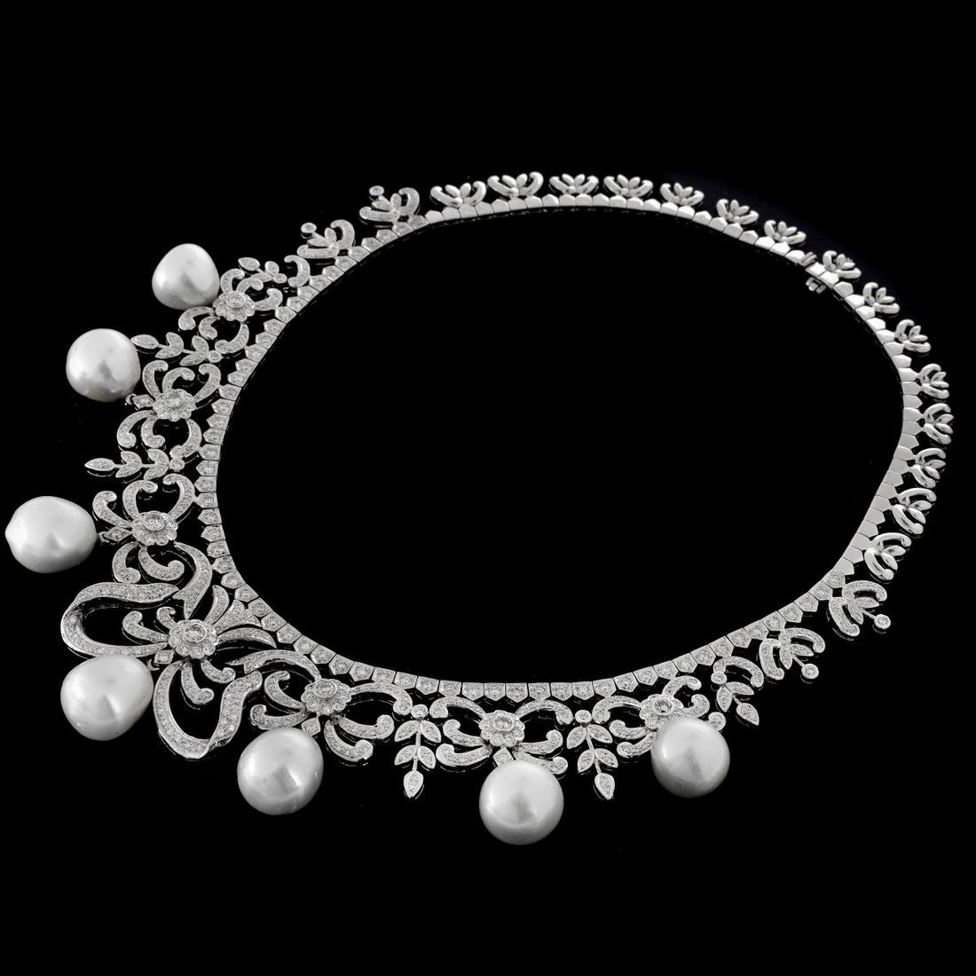 Diamond, Pearl and 18K Necklace