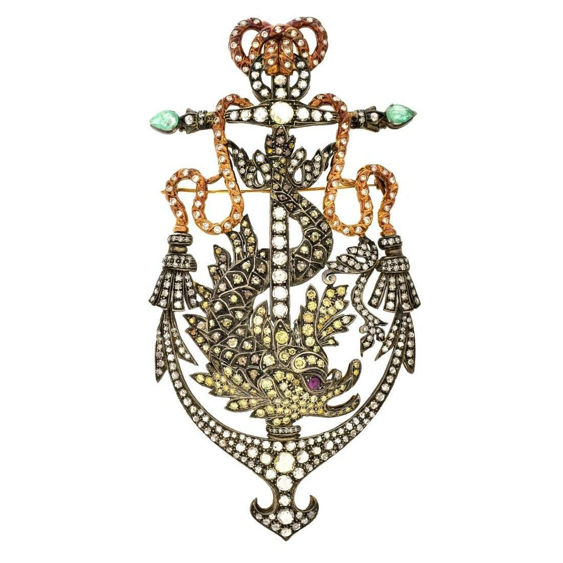 Antique Diamond and Gemstone Brooch