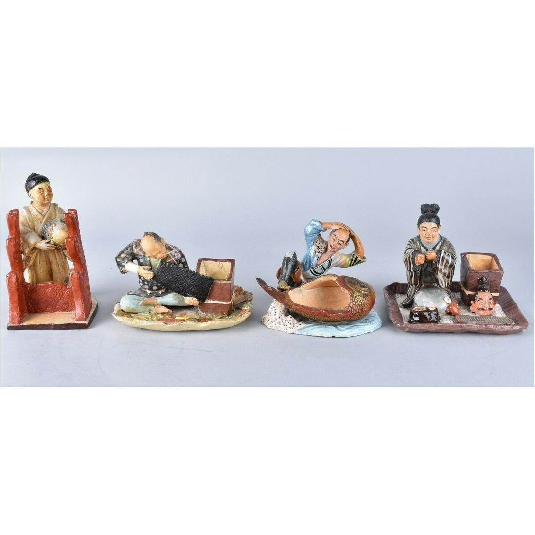 4 Vintage Japanese Pottery Figures