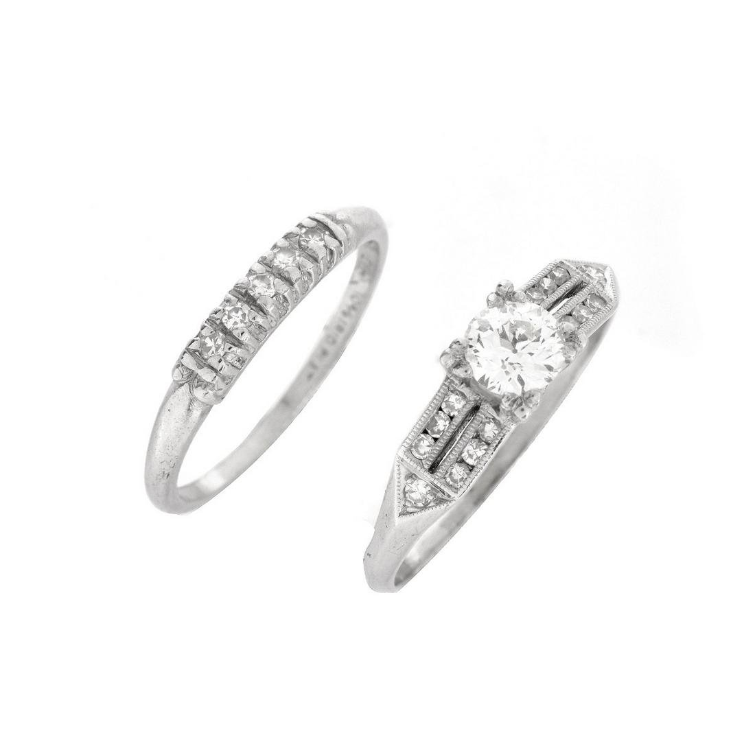 Art Deco Diamond and Platinum Ring Set