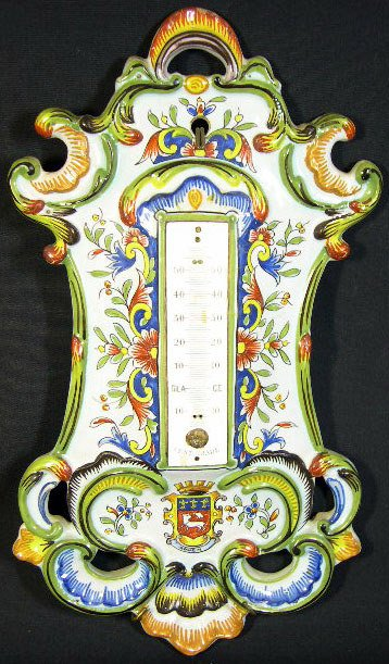 1: 18/19th Century Rouen Faience Thermometer. Armorial