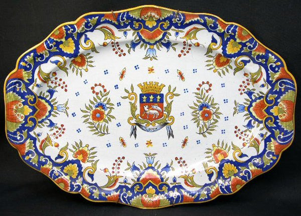 2: 18/19th Century or Earlier Rouen Faience Armorial Pl