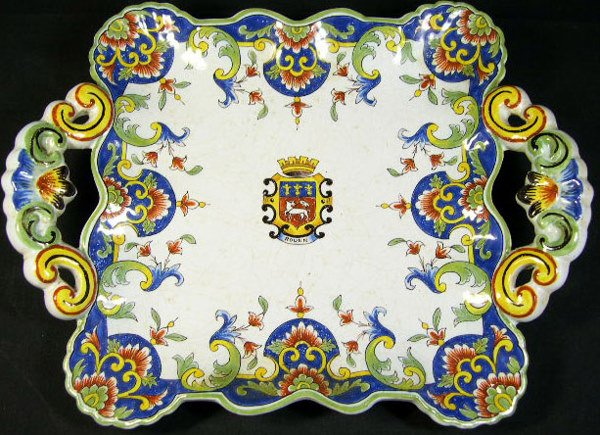 3: 18/19th Century Rouen Faience Handled Platter. Armor
