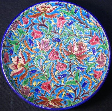 9: Longwy France Enameled Pedestal Bowl. Early to Mid 2