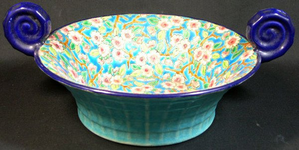 13: Longwy France Enameled and Handled Bowl. Early to M