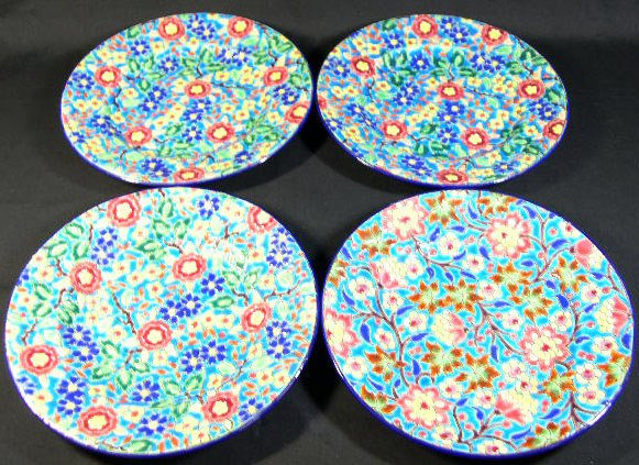 14: 4 Longwy France Enameled Plates. Early to Mid 20th