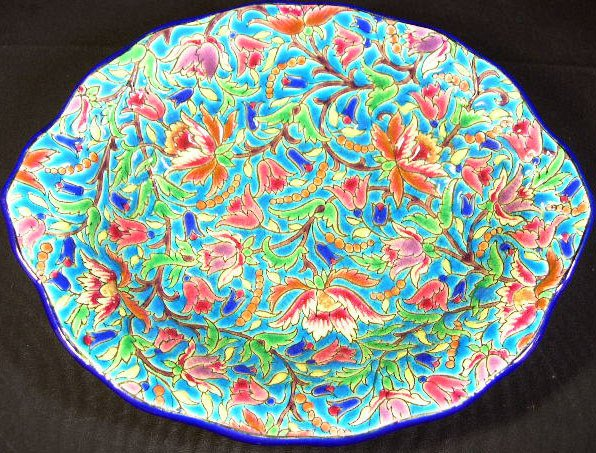 16: Longwy France Enameled Oval Vegetable Bowl. Early t